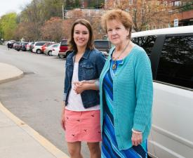 Women next to car